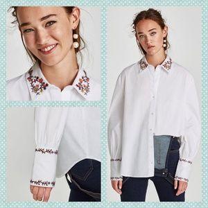 Zara Trafaluc Embroidered Button Down